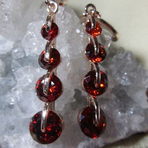 "CZ ""Journey"" graduated dangle earrings Pink or Red"